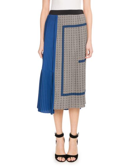 Mid-Calf Silk Crepe de Chine Logo-Print Plisse Skirt