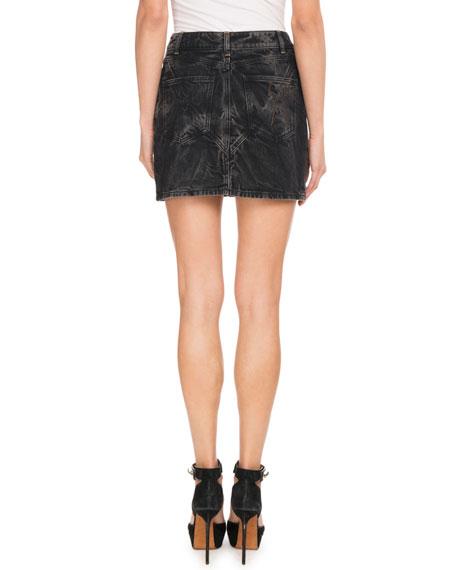 Marble-Washed Denim Mini Skirt
