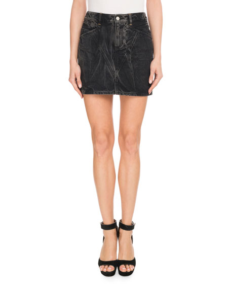 Givenchy Marble-Washed Denim Mini Skirt
