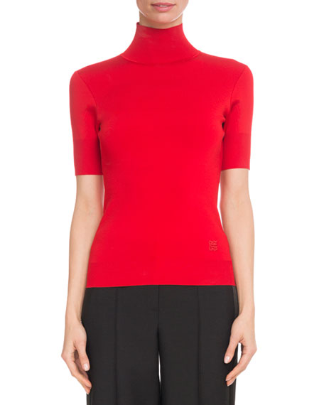 Short-Sleeve Turtleneck Viscose-Knit Top