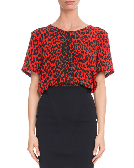 Short-Sleeve Leopard-Print Silk Crepe de Chine Blouse