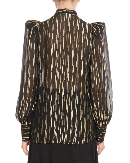 Long-Sleeve Button-Front Golden Fil Coupe Silk Blouse