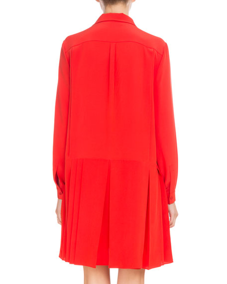 Long-Sleeve Button-Front Crepe de Chine Shirtdress