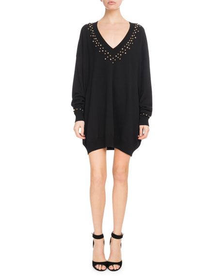 Long-Sleeve Studded V-Neck Oversize Cashmere-Blend Sweater