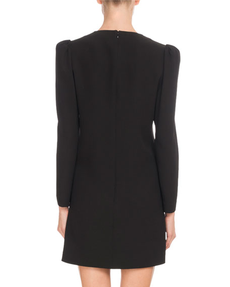 Long-Sleeve Draped-Front Crepe Dress w/ Brooch Detail