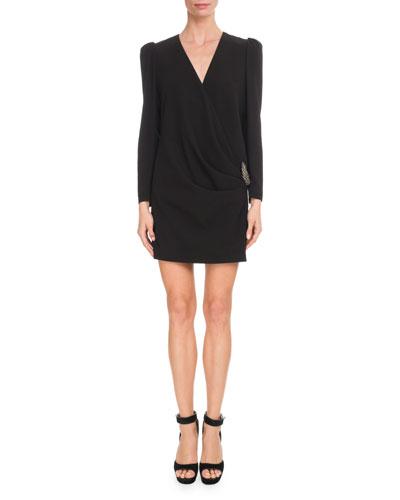 Long-Sleeve Draped-Front Crepe Dress w/ Brooch Detail