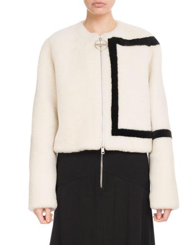 Zip-Front Large G Logo Lamb Shearling Jacket