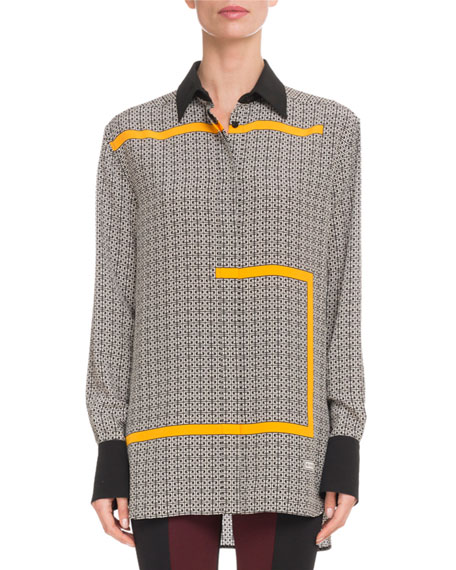 Givenchy Allover GG-Print Long-Sleeve Button-Front Silk Blouse