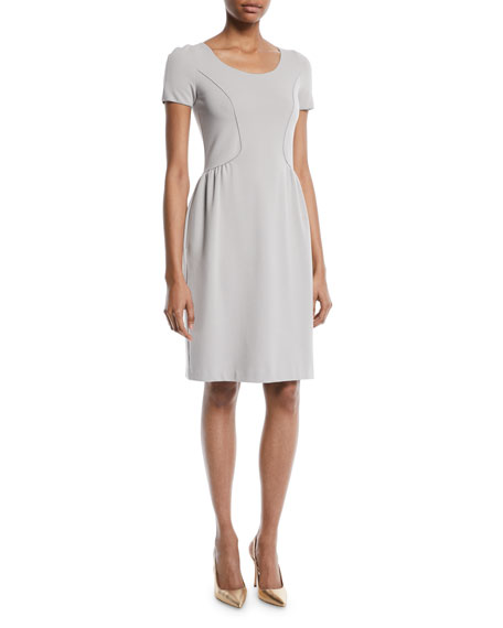 Emporio Armani Short-Sleeve Round-Neck Ottoman Knit Sheath Dress