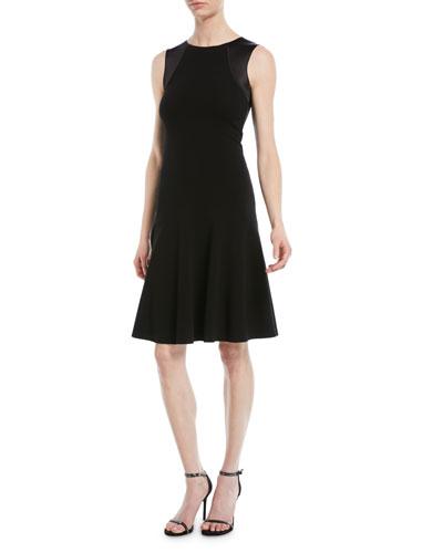 Sleeveless Round-Neck A-Line Ottoman Knit Dress w/ Satin Combo