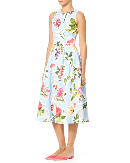 Carolina Herrera Sleeveless Floral-Print Cotton Faille