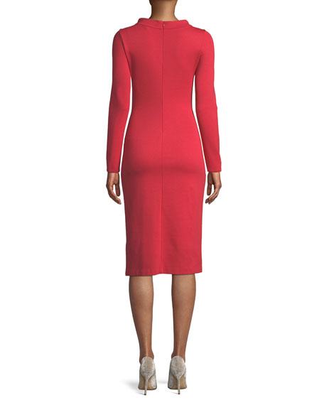 Funnel-Neck Long-Sleeve Ponte Midi Dress