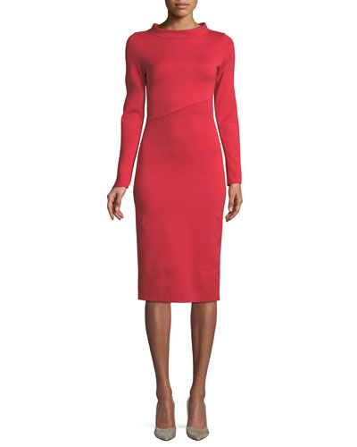 Funnel-Neck Long-Sleeve Ponte Midi Dress
