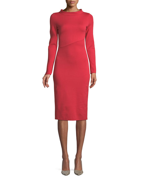 Emporio Armani Funnel-Neck Long-Sleeve Ponte Midi Dress