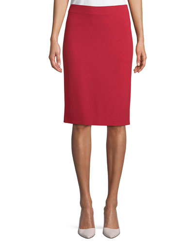 Milano Jersey Knee-Length Pencil Skirt, Red