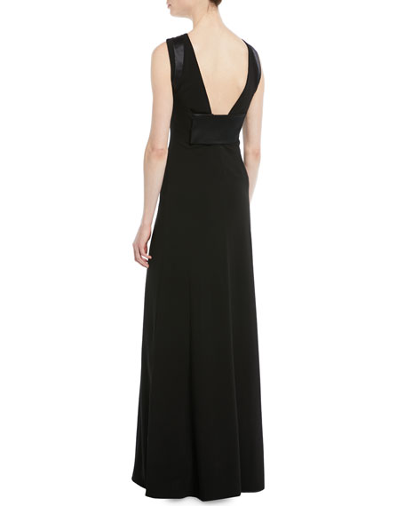 A-Line Halter Jersey Evening Gown w/ Satin Trim