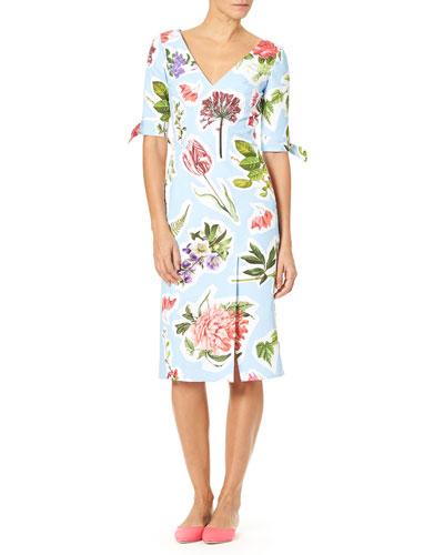 Elbow-Sleeve Floral Collage-Print Cotton Faille Sheath Dress