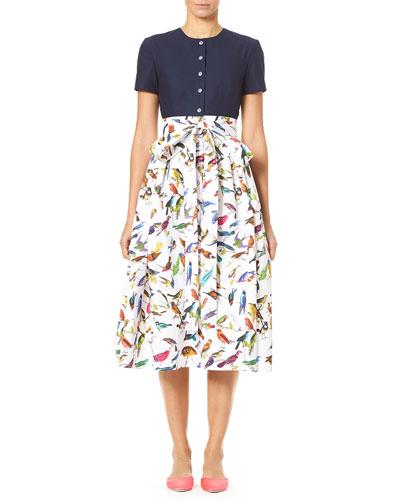 Bird-Print Short-Sleeve Solid Top and Full Skirt Dress
