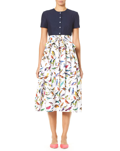 Bird-Print Short-Sleeve Solid Top and Full Skirt Dress