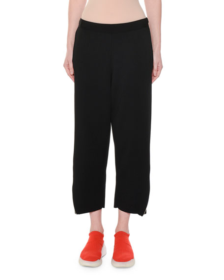 Stella McCartney Heavy Viscose Cropped Wide-Leg Pull-On Pants