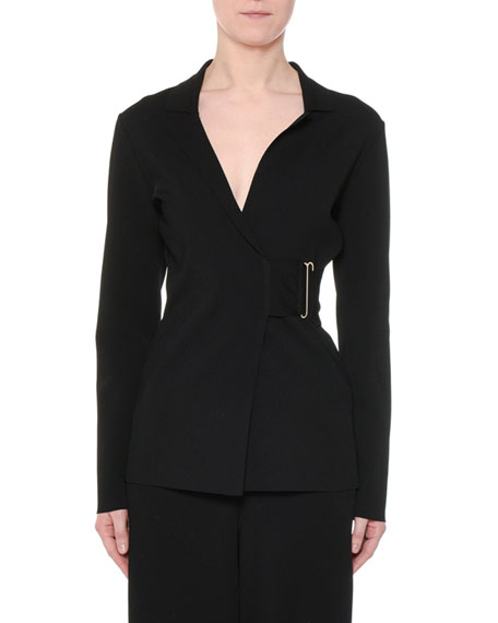 Notched-Collar Heavy Viscose Wrap Jacket w/ Golden Bar