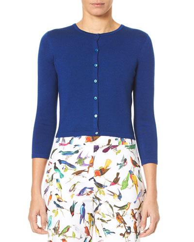 Jewel-Neck Button-Down Crop Cardigan