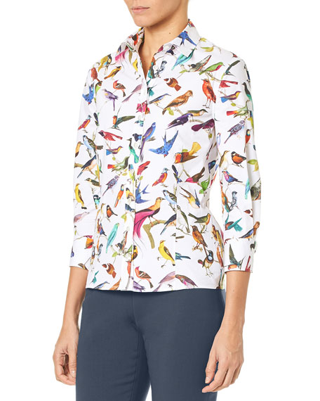 Image 2 of 3: 3/4-Sleeve Bird-Print Classic Poplin Blouse