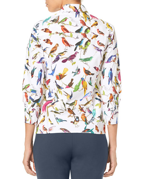 Image 3 of 3: 3/4-Sleeve Bird-Print Classic Poplin Blouse