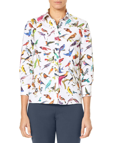 Carolina Herrera 3/4-Sleeve Bird-Print Classic Poplin Blouse and