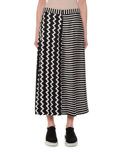 Zigzag & Stripe Mixed-Print Wide-Leg Silk Culotte