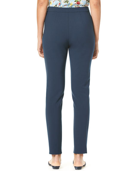 Side-Zip Straight-Leg Stretch-Cotton Cropped Pants