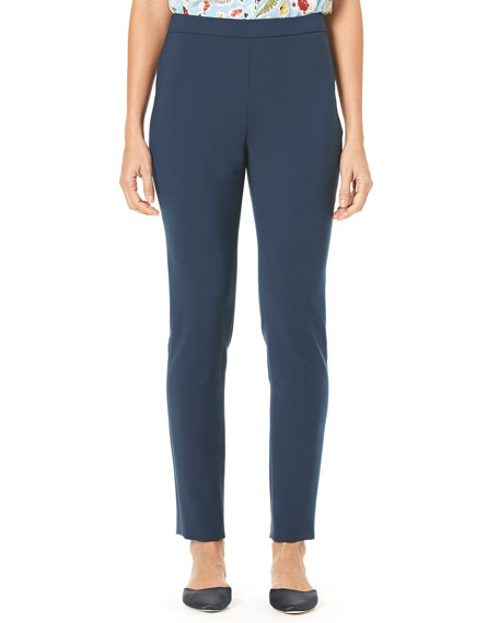 Carolina Herrera Side-Zip Straight-Leg Stretch-Cotton Cropped Pants