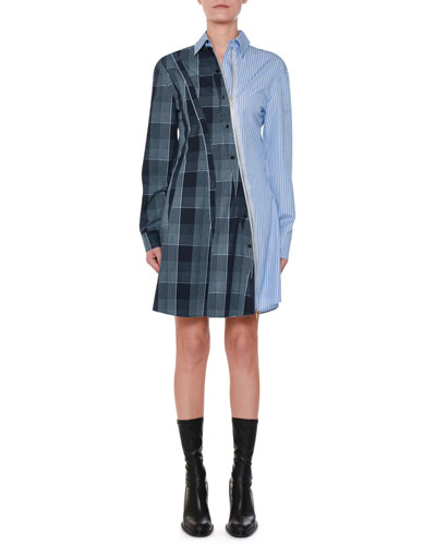 Asymmetric-Zip Plaid & Striped Mixed-Print Oxford Flippy Dress