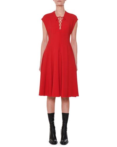 Cap-Sleeve Lace-Up Front A-Line Dress