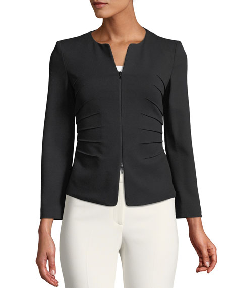 Kate Zip-Front Sunburst Jersey Jacket