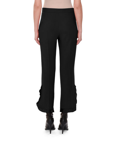 Flat-Front Side-Ruffle Cropped Crepe Pants