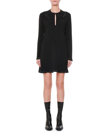 Long-Sleeve Pleated-Ruffle Mini Dress
