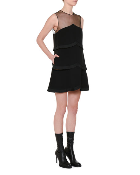 Sleeveless Sheer-Yoke Tiered Pleated Mini Dress
