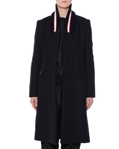 Single-Breasted Ribbed-Collar Wool Coat