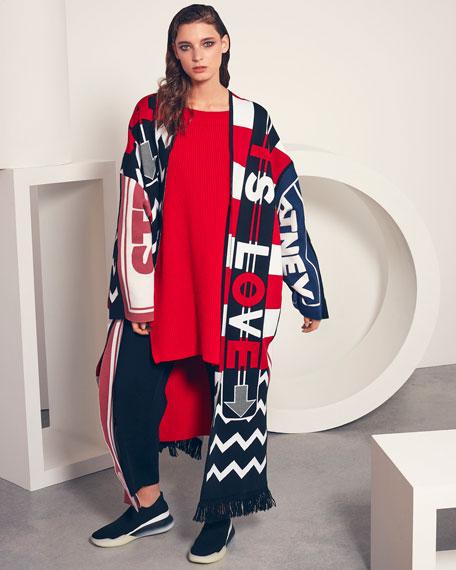 Logo-Knit Belted Long Cardigan Coat w/ Fringe