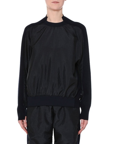 Nylon-Front Wool-Back Pullover Sweater