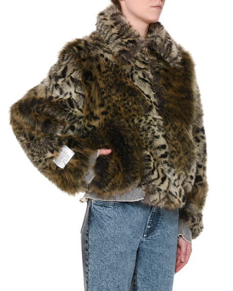 Animal-Print Faux-Fur Short Coat