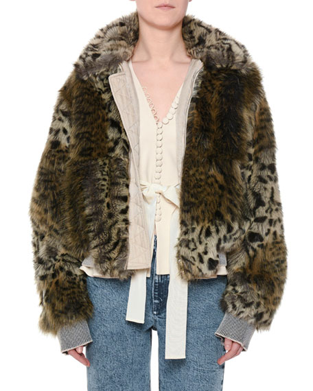 0d317aa3402d7 Stella Mccartney Leopard Print Faux Fur Jacket In Beige In Black ...