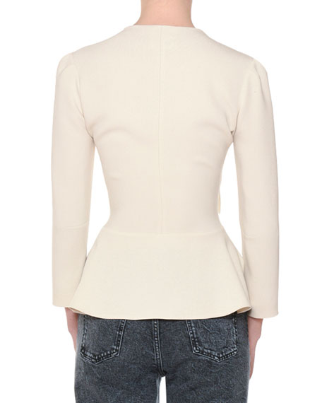 V-Neck Tie-Waist Stretch-Cady Peplum Blouse