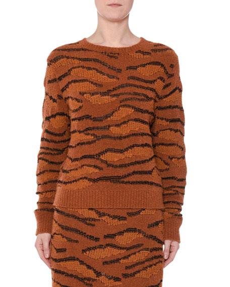 Animal-Intarsia Crewneck Pullover Sweater