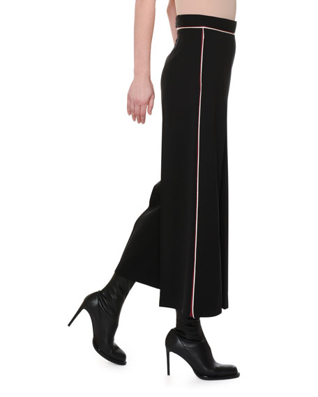 Piped-Waist Inverted-Pleat Wide-Leg Wool Culotte Pants