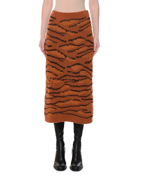 Animal-Intarsia Slim Fitted Pull-On Midi Skirt