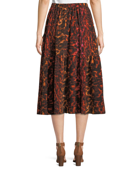 Neon Animal-Print Silk Full A-Line Midi Skirt