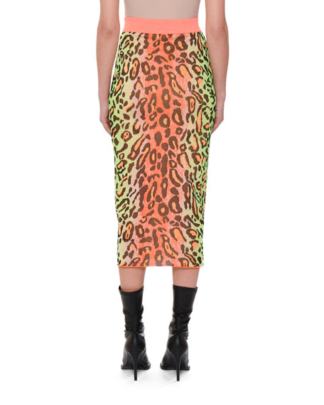 Neon Animal-Print Fitted Pull-On Midi Skirt