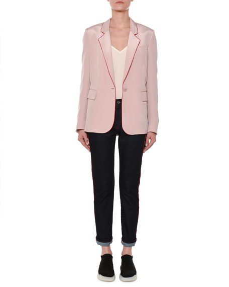 One-Button Silk Blazer w/ Contrast Piping